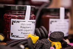 © Licensed to London News Pictures. 12/07/2015. Pontefract, UK. Picture shows Liquorice jam. Thousands of people have again turned out in Pontefract to celebrate all things Liquorice including sweets, beer, bread, pies, jam & jewellery . The town famed for the Pontefract cake has a 400 year history with Liquorice, it is believed Cluniac monks brought it to the area in the mid 1500 & introduced it as a medicine. Photo credit : Andrew McCaren/LNP