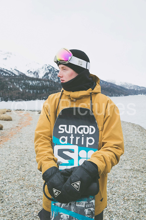 British Freestyle Snowboarder Matt McCormick on 07th May 2017 in Silvaplana, Switzerland. Silvaplana is a municipality in the Maloja Region in the Swiss canton of Graubünden and the name of a lake in the municipality. Its popular alpine sports destination.