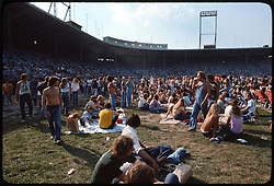The crowd, deadheads, and the stadium bleachers before the Grateful Dead Concert begins at Roosevelt Stadium 4 August 1976