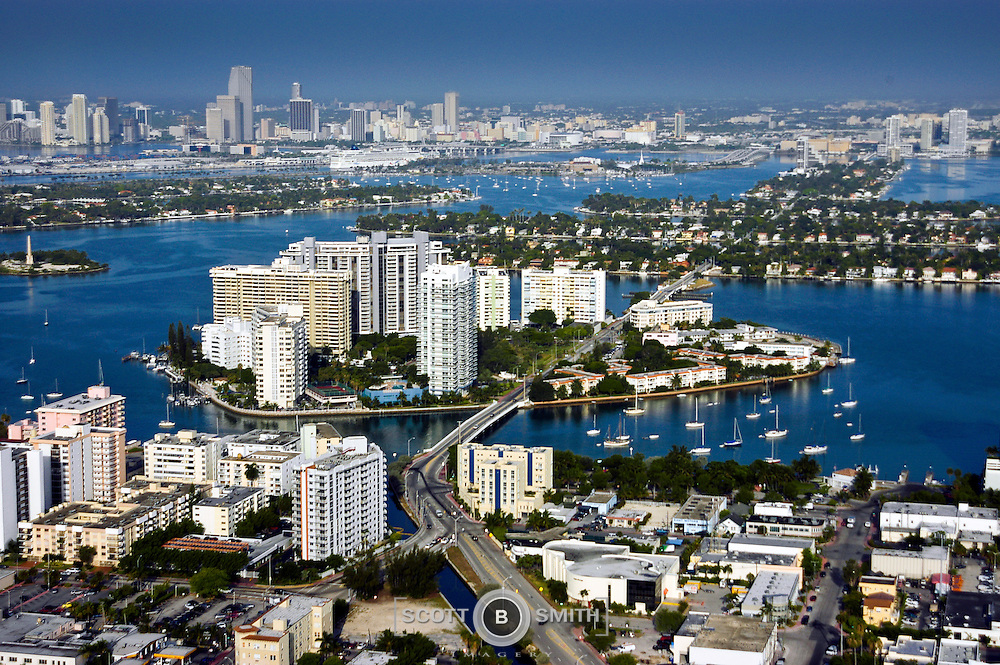 Aerial view of Belle Isle on the Venetian Causeway in Miami Beach, Florida.
