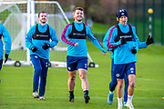 Craig Halkett (#26) of Heart of Midlothian FC is all smiles during the Heart of Midlothian press conference and training session at Oriam Sports Performance Centre, Edinburgh, Scotland on 23 November 2020.