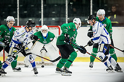 Tobias Kofler of Broncos vs Miha Zajc of SZ Olimpija during ice hockey match between HK SZ Olimpija and WSV Sterzing Broncos Weihenstephan (ITA) in Round #12 of AHL - Alps Hockey League 2018/19, on October 30, 2018, in Hala Tivoli, Ljubljana, Slovenia. Photo by Vid Ponikvar / Sportida