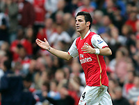 Photo: Tom Dulat/Sportsbeat Images.<br /> <br /> Arsenal v Manchester United. The FA Barclays Premiership. 03/11/2007.<br /> <br /> Arsenal's Cesc Fabregas scelebrates his goal. 1-1