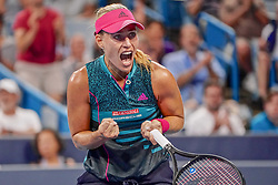 August 15, 2018 - Mason, Ohio, USA - Angelique Kerber (GER)  reacts after winning her match during Wednesday's second round of the Western and Southern Open at the Lindner Family Tennis Center, Mason, Oh. (Credit Image: © Scott Stuart via ZUMA Wire)