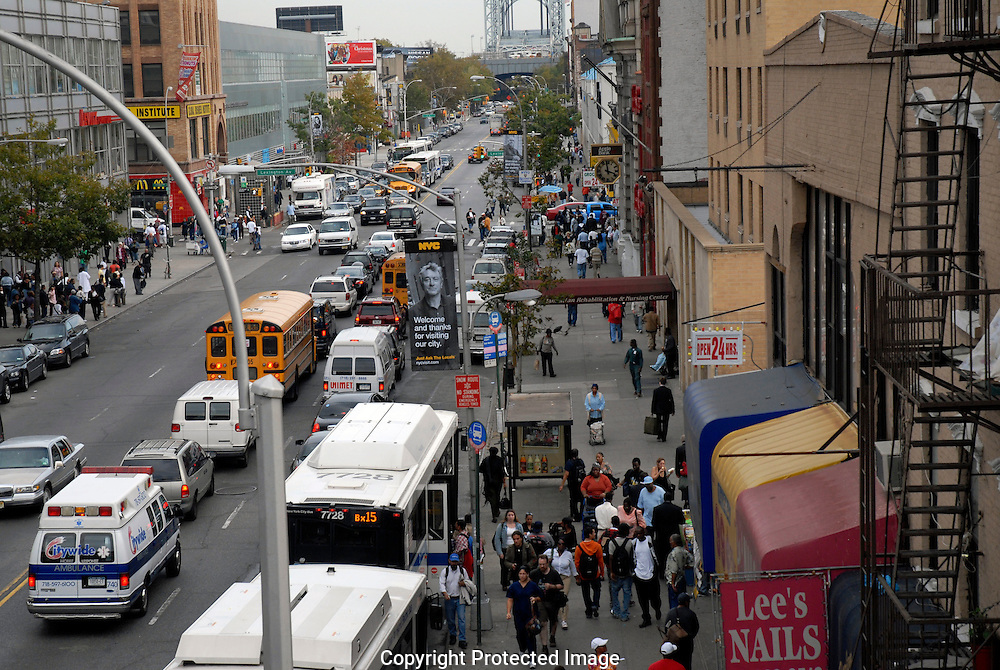 Aerial view of 125th Street in harlem New York City