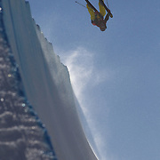 Kalle Hilden, Finland, in action in the Halfpipe Finals during The North Face Freeski Open at Snow Park, Wanaka, New Zealand, 3rd September 2011. Photo Tim Clayton...
