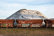 Steenkool opslag en cargo trein op de Maasvlakte, Haven van Rotterdam.