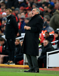 Everton manager Sam Allardyce during the Premier League match at Anfield, Liverpool.