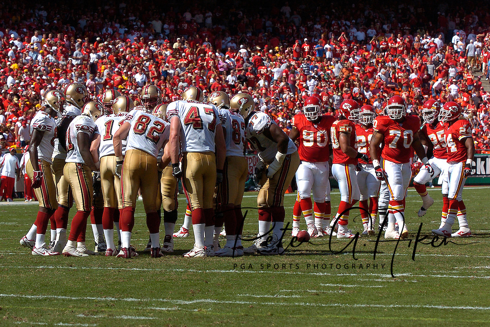 San Francisco quarterback Alex Smith (11) and the 49ers offense huddle during first half against Kansas City at Arrowhead Stadium in Kansas City, Missouri October 1, 2006.  The Chiefs beat the 49ers 41-0.