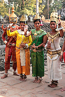 """Apsara Dancers at Bayon - Khmer classical dance is often called """"Apsara Dance"""" coming from the notion that Khmer classical dance is connected to dances practiced in the courts of the Angkor monarchs, which got their inspiration from  mythological court gods and from its celestial Apsara dancers."""