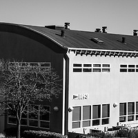 Modern face of a historical building in Marinships, Sausalito on the bay