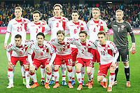 CLUJ-NAPOCA, ROMANIA, MARCH 26: Denmark's national soccer players (top, L-R) Andreas Cornelius, William Vitved Kvist, Jannik Vestergaard, Andreas Christensen, Simon Kjaer, Kasper Schmeichel, (bottom L-R) Riza Durmisi, Thomas Delaney, Lasse Schone, Peter Ankersen, Christian Eriksen, pose before the 2018 FIFA World Cup qualifier soccer game between Romania and Denmark, on March 26, at Cluj Arena Stadium, in Cluj-Napoca, Romania. (Photo by Mircea Rosca/Getty Images)