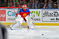 KELOWNA, BC - DECEMBER 18:  Petr Kochetkov #20 of Team Russia defends the net against Team Sweden at Prospera Place on December 18, 2018 in Kelowna, Canada. (Photo by Marissa Baecker/Getty Images)***Local Caption***