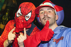 The Hubs, Hallam Union, Paternoster Row plays host to Sheffield's biggest Fancy Dress Ball. More than 900 people in fancy dress to raise money for Cancer Research on Saturday night.Steven Davies and Adam Stavely as Spiderman and Dick Dasterdly..6 April  2013.Image © Paul David Drabble