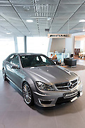 Mercedes-AMG C63 AMG Saloon car in Mercedes-AMG showroom and gallery in Mercedesstrasse in Stuttgart, Bavaria, Germany