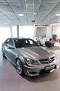 Mercedes-AMG C63 AMG Saloon car in Mercedes-AMG showroom and gallery in Mercedesstrasse in Stuttgart, Bavaria, Germany