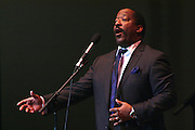 """19 January 2015-Santa Barbara, CA: The Arlington Theater Program; Musical Selection, St. Paul Baptist Church Mass Choir, Rev Jai Nix Dir. Santa Barbara Honors Dr. Martin Luther King Jr. with a Day of Celebration.  The Santa Barbara MLK, Jr. Committee chose """"Drum Majors for Justice"""" as it's theme for the day which included a Pre-March Program in De la Guerra Plaza followed by a march up State Street to the Arlington Theater for speakers, music and poetry.  The program concluded with a Community Lunch at the First United Methodist Church in Santa Barbara.  Photo by Rod Rolle"""