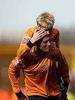 Photo: Rich Eaton.<br /> <br /> Wolverhampton Wanderers v West Bromwich Albion. Coca Cola Championship. 11/03/2007. Jay Bothroyd #10 is congratulated by Andy Keogh at the end of the game after scoring the only goal of the game for Wolves