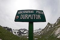 """Durmitor national park"" sign in Durmitor national park, Montenegro"