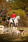 Fox hunters at the Middleton Place Fox Hunt during a break in the hunt at Middleton Place plantation in Charleston, SC. The hunt is a drag hunt where a scented cloth is used instead of live fox.