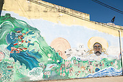 A wall mural with native and nationalist themes in Xico, Veracruz, Mexico.