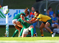 Rugby Union - 2017 Women's Rugby World Cup (WRWC) - Pool C: Ireland vs. Australia<br /> <br /> Ireland's Lindsay Peat offloads under pressure from Australia's Trilleen Pomare , at the UCD Bowl, Dublin.<br /> <br /> COLORSPORT/KEN SUTTON