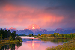 """Thunderstorm, Sunrise, Grand Tetons, Oxbow Bend, Jackson Hole, Wyoming<br /> <br /> For production prints or stock photos click the Purchase Print/License Photo Button in upper Right; for Fine Art """"Custom Prints"""" contact Daryl - 208-709-3250 or dh@greater-yellowstone.com"""