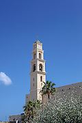 Israel, Jaffa, St Peter church and Monastery. Blue sky background