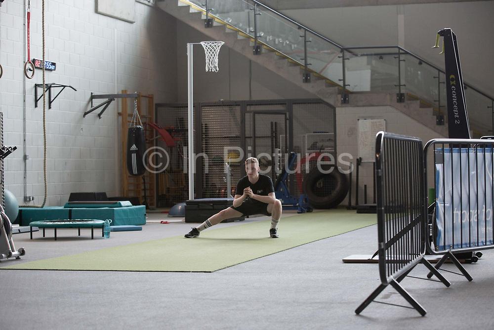 Training and rehabilitation for GB snowboarder Matt McCormick on 27th July 2017 in Glasgow, United Kingdom