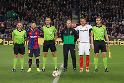 January 30, 2019 - Barcelona, BARCELONA, Spain - Captains and referees of Barcelona during Spanish King championship, football match between Barcelona and Sevilla, January  30th, in Camp Nou Stadium in Barcelona, Spain. (Credit Image: © AFP7 via ZUMA Wire)