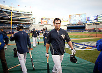 Yankees outfielder Johnny Damon warms up prior to Game 2 of the 2009 World Series between the New York Yankees and The Philadelphia Phillies in Bronx, NY. (Photo by Robert Caplin)..