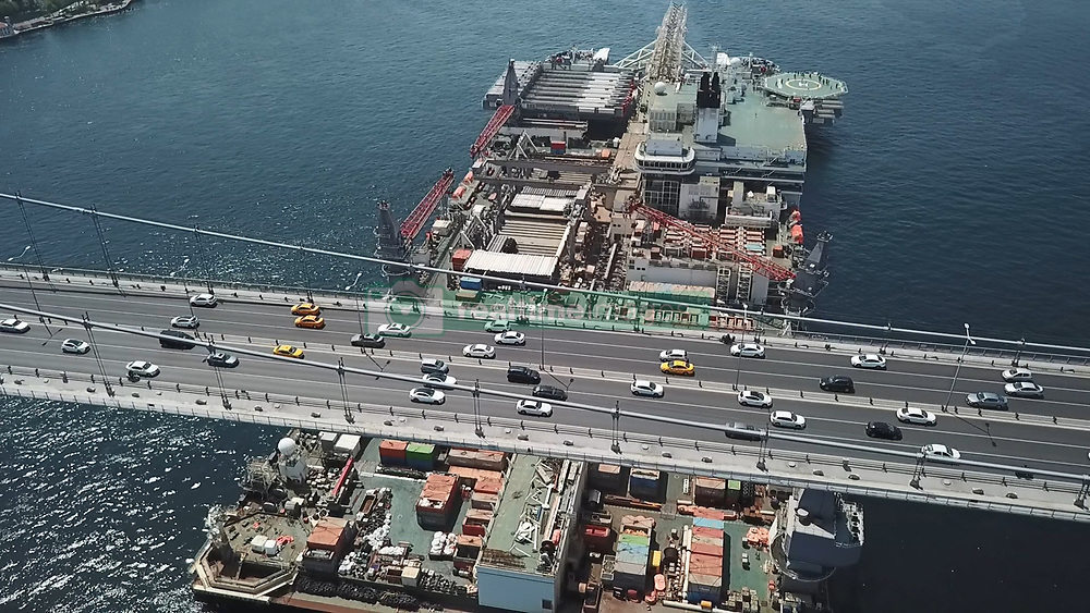 The world's largest pipe-laying vessel, the Pioneering Spirit, passed through Istanbul's Bosphorus on the morning of May 2, 2018, in Turkey. The Black Sea entrance of the Bosphorus was closed to naval traffic due to the passing of the 477-meter-long vessel. On April 30, Pioneering Spirit captain Loek Fernengel said Allseas, the company that owns the Pioneering Spirit, has the world's most technologically advanced pipe-laying vessel, which is not only designed for pipe-laying but also for the installation and decommissioning of oil and gas platforms. Photo by Ali Aksoyer/DHA/Depo Photos/ABACAPRESS.COM