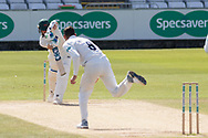 Jack Burnham bowling to Colin Ackemann during the Specsavers County Champ Div 2 match between Durham County Cricket Club and Leicestershire County Cricket Club at the Emirates Durham ICG Ground, Chester-le-Street, United Kingdom on 21 August 2019.