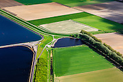 Nederland, Zeeland, Gemeente Sas van Gent, 09-05-2013; Braakmanpolder, spaarbekkens voor drinkwater (ten Noorden van Philippine).<br /> Reservoirs for drinking water in the polder in Zeeuws-Vlaanderen,  the south-west part of the province of Zeeland.<br /> luchtfoto (toeslag op standard tarieven);<br /> aerial photo (additional fee required);<br /> copyright foto/photo Siebe Swart.