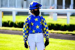 Jockey Faye McManoman in the parade ring - Mandatory by-line: Dougie Allward/JMP - 10/07/2020 - HORSE RACING - Bath Racecourse - Bath, England - Bath Races