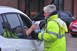 © Licensed to London News Pictures.05/03/2018<br /> Lenham, UK.<br /> Bottled water delivered to Northdown Close in Lenham.<br /> 7000 homes in Lenham and Ashford in Kent without water as thawing pipes burst after the big freeze.<br /> Photo credit: Grant Falvey/LNP