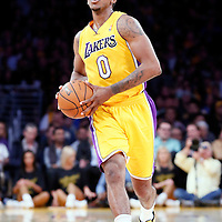 11 April 2014: Los Angeles Lakers forward Nick Young (0) passes the ball during the Golden State Warriors 112-95 victory over the Los Angeles Lakers at the Staples Center, Los Angeles, California, USA.