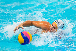 StefanVidovic of Montenegro in action against the Netherlands during the Olympic qualifying tournament. The Dutch water polo players are on the hunt for a starting ticket for the Olympic Games on February 19, 2021 in Rotterdam