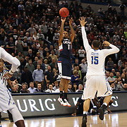 Ryan Boatright, UConn, shoots a three during the UConn Huskies Vs Tulsa Semi Final game at the American Athletic Conference Men's College Basketball Championships 2015 at the XL Center, Hartford, Connecticut, USA. 14th March 2015. Photo Tim Clayton