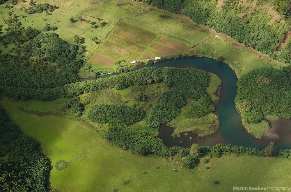 Aerial view of Lumaha'i River, Kauai, Hawaii