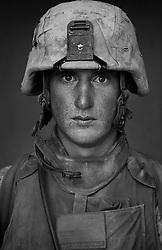 Lcpl. Maximillian Schaal, 21, Eureka, California, Second Platoon, Kilo Co., 3rd Battalion 1st Marines, 1st Marine Division, United States Marine Corps, at the company's firm base in Haditha, Iraq on Sunday Oct. 22, 2005.