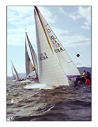 The Clyde Cruising Club's 1977 Tomatin Trophy the first Scottish Series held at Tarbert Loch Fyne.  An overnight race from Gourock to Campbeltown then on to Olympic Triangles in Loch Fyne. ..K5084  Lemerac Boyd Tunnock.