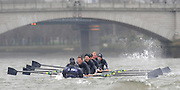 Putney, GREAT BRITAIN,   2008 Boat Race, Tideway Week, Oxford paddling though the rougher on the Fulham Reach, during Their Friday am. training outing on the River Thames, Fri. 28.03.2008 [Mandatory Credit, Peter Spurrier / Intersport-images [crew right to left] OUBC. Bow, Jan HERZOG, Toby MEDARIS, Ben SMITH, Aaron MARCOVY, Michael WHERLEY, Oliver MOORE, Charles COLE, William ENGLAND and Cox Nick BRODIE. Varsity Boat Race, Rowing Course: River Thames, Championship course, Putney to Mortlake 4.25 Miles,