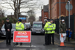 © Licensed to London News Pictures . 03/03/2016 . Manchester , UK . The funeral of 11 year old Shahzaib Hussain at the Masjid Hamza Mosque on Moss Street West in Ashton Under Lyne . Shahzaib was killed by a hit and run driver outside the mosque , on Monday 29th February 2016 . Photo credit : Joel Goodman/LNP