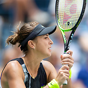 2019 US Open Tennis Tournament- Day Ten.  Belinda Bencic of Switzerland in action against Donna Vekic of Croatia in the Women's Singles Quarter-Finals match on Arthur Ashe Stadium during the 2019 US Open Tennis Tournament at the USTA Billie Jean King National Tennis Center on September 4th, 2019 in Flushing, Queens, New York City.  (Photo by Tim Clayton/Corbis via Getty Images)