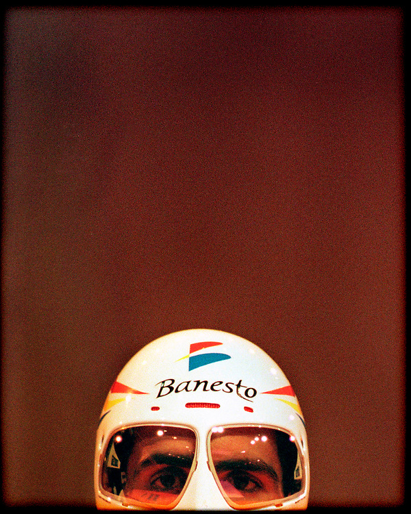 Nederland, Den Bosch, 29-06-1996.<br /> Wielrennen, Tour de France, Proloog.<br /> Miguel Indurain, 5-voudig Tour winnaar, aan de startin de Brabanthallen. <br /> Foto : Klaas Jan van der Weij