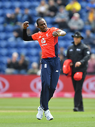 England's Jofra Archer during celebrates taking the wicket of Pakistan's Imam-ul-Haq duiring the Vitality IT20 match at Sophia Gardens, Cardiff.