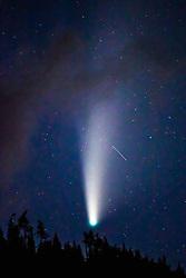 THEMENBILD - Der Komet C/2020 F3 (NEOWISE) im Nationalpark Hohe Tauern, über einem Wald in Kals am Grossglockner, am Montag 20 Juli 2020. Der Komet wurde am 27. März 2020 im Rahmen des Projekts NEOWISE durch das Weltraumteleskop WISE entdeckt // The comet C / 2020 F3 (NEOWISE) in the Hohe Tauern National Park, above a forest in Kals am Grossglockner. Austria on Monday 20 July 2020. The comet was discovered on March 27, 2020 as part of the NEOWISE project by the WISE space telescope. EXPA Pictures © 2020, PhotoCredit: EXPA/ Johann Groder