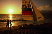 Sunset with couple, Kaanapali, Maui, Hawaii<br />