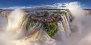 Cities and Landscapes captured from a Birds eye view with stunning results...<br /> <br /> A group of Russian photographers and specialists by the name of AirPano, have teamed up to capture amazing panoramic, bird's-eye views photos. <br /> <br /> AirPano travel the world to shoot some of the world's most beautiful locations from above. The team usually photograph on a helicopter, but they also shoot from an airplane, a dirigible, a hot air balloon and a radio-controlled helicopter. <br /> <br /> The images are then available for the public to view on their website, and using AirPano's special viewer, you can view the photos in 360-degree displays.<br /> <br /> Photo shows: The Iguazu Falls<br /> ©Exclusivepix Media